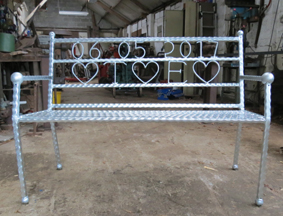 wrought iron garden bench seat customised wedding date