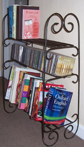 wrought iron book shelves DVD racks CD racks storage