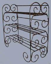 wrought iron book shelf