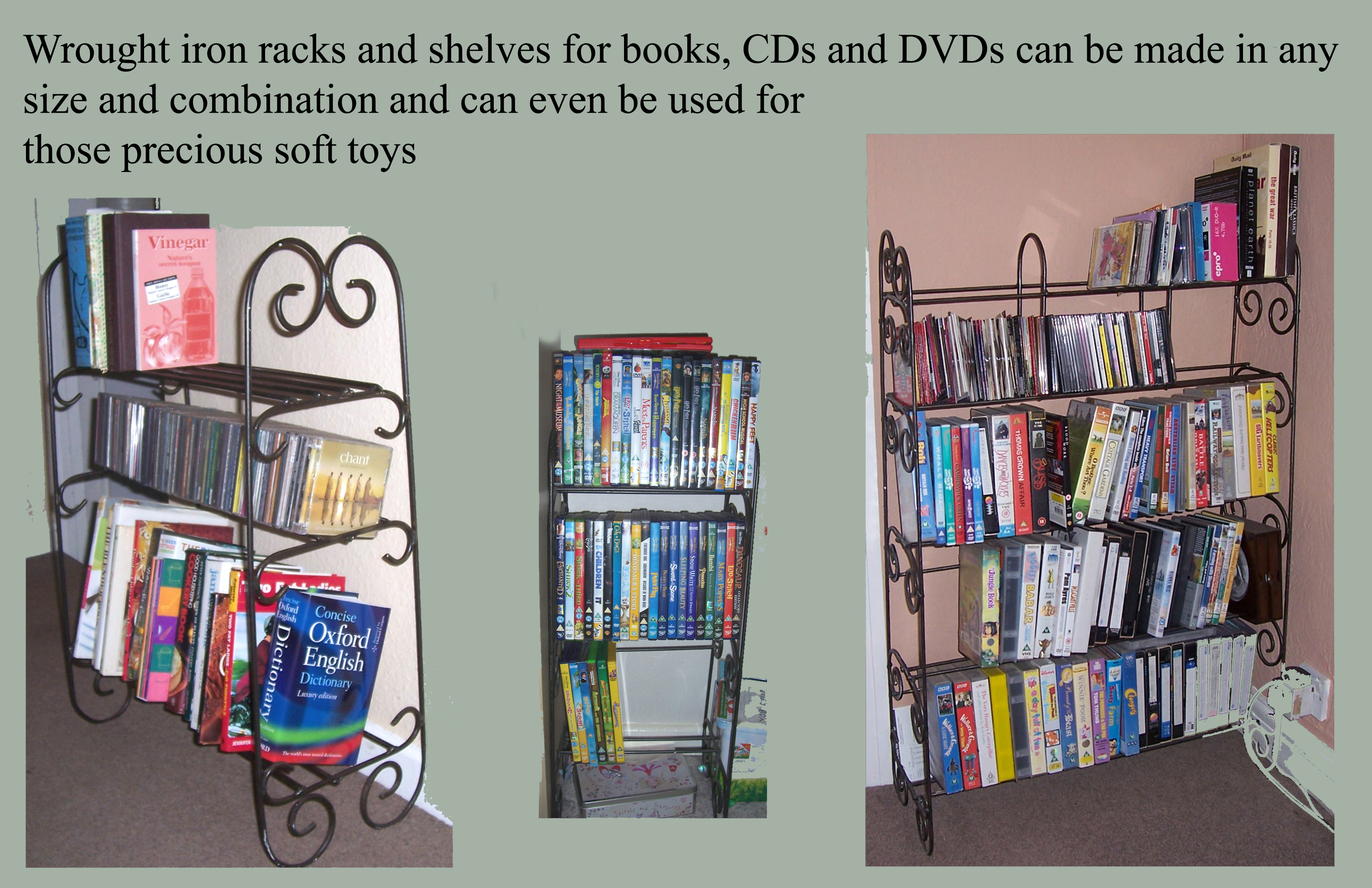 wrought iron bookshelves and  cd dvd racks