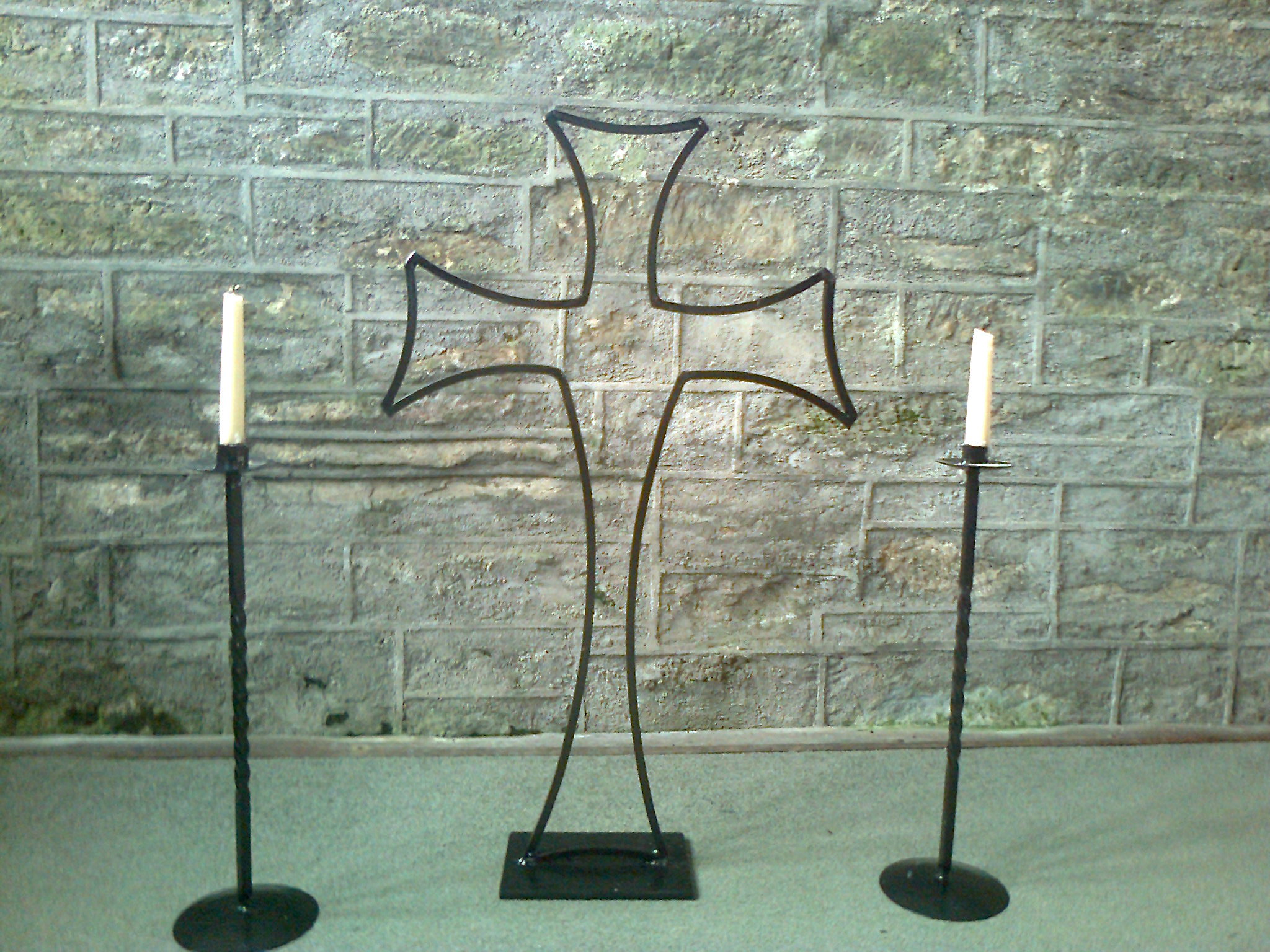 Celtic wrought iron alter cross and candle holders