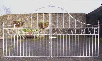 wrought iron gates with house name