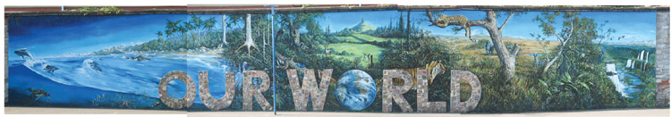 'OUR WORLD' mural in playground, Glastonbury