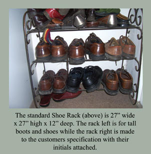 ironwork shoe racks and boot racks