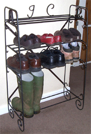 wrought iron shoe racks and bootracks