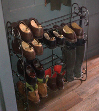 Custom made wrought iron shoe rack