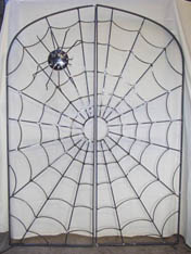 unique ironwork 'spider and web' design garden gate