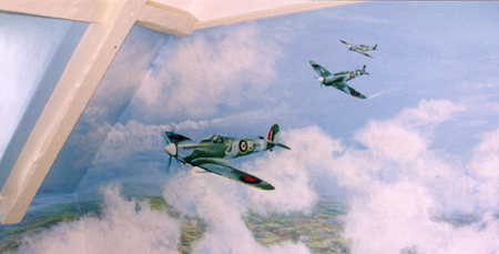 mural in clouds with spitfires