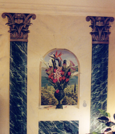 mural pillars and marble archway