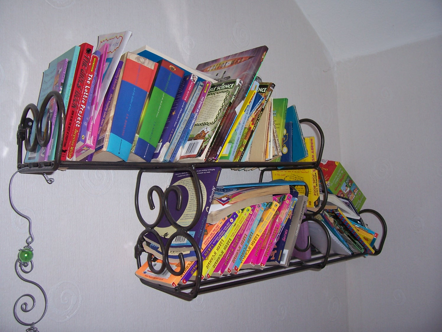 wall mounted wrought iron book shelf