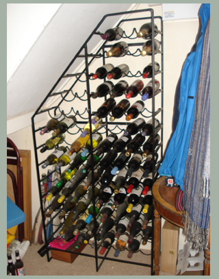 Large wrought iron wine rack custom made